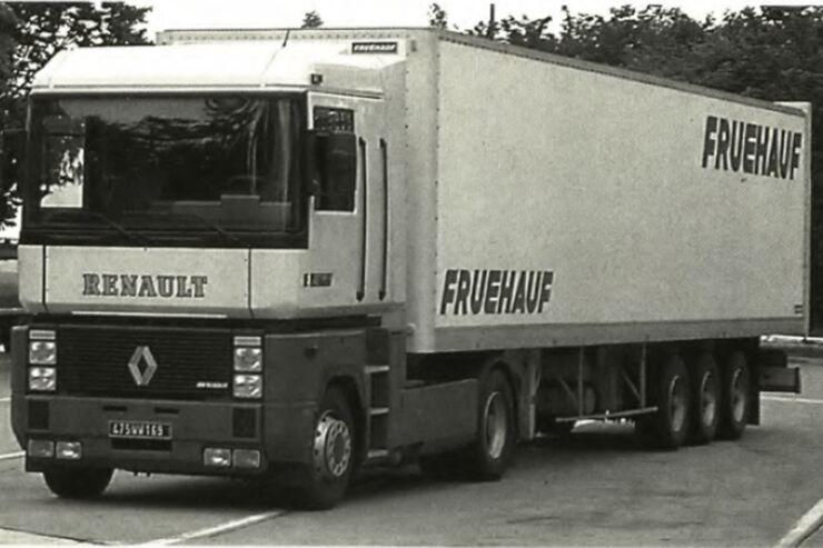 Bild vom ersten Test des Renault Magnum, damals noch mit der Bezeichnung AE 500