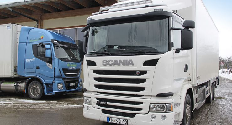 Bodan Natur Großhandel Iveco LNG 400 links Scania 320 Hybrid alternative Antriebe Nachhaltigkeit