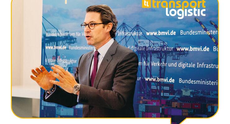 Bundesverkehrsminister Andreas Scheuer auf der Transport Logistic Online der Messe München.
