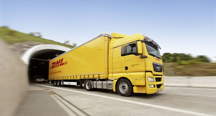 DHL, Landtransport, DHL-Lkw, Lkw
