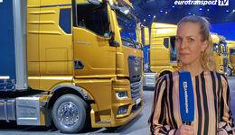Der neue MAN TGX mit Moderatorin Alexandra von Lingen in Bilbao.