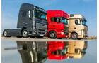 Die stärksten Serien-Lkw, Vergleichstest, Mercedes, Scania, Volvo