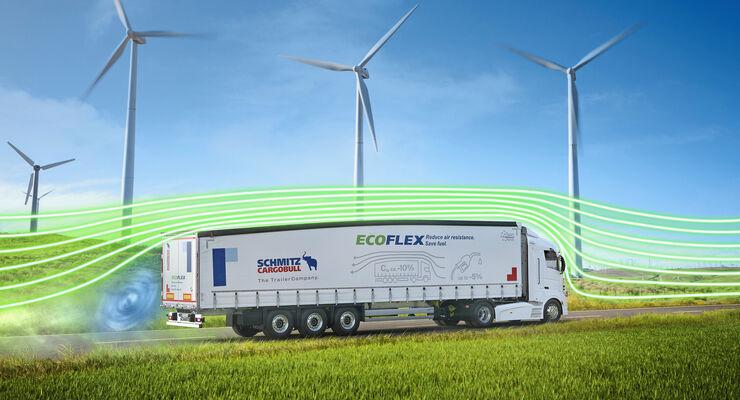 EcoGeneration Sattelauflieger Curtainsider Aerodynamik Trailer, Windräder, Umwelt, CO2, grüne Logistik, EcoFlex