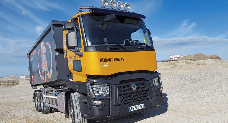 Fahrbericht Renault Trucks C 6x4 Abrollkipper Kiesgrube orange