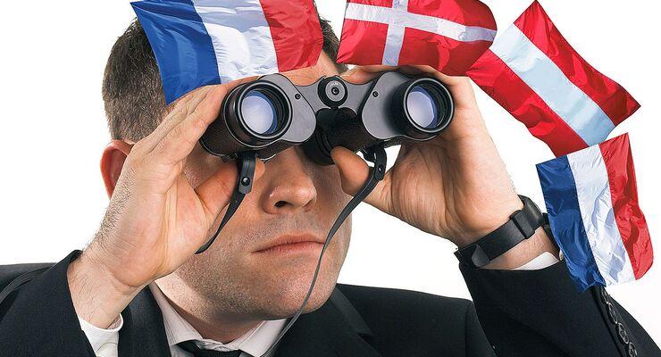 Fernglas, Flaggen, Österreich, Niederlande, Dänemark, Frankreich