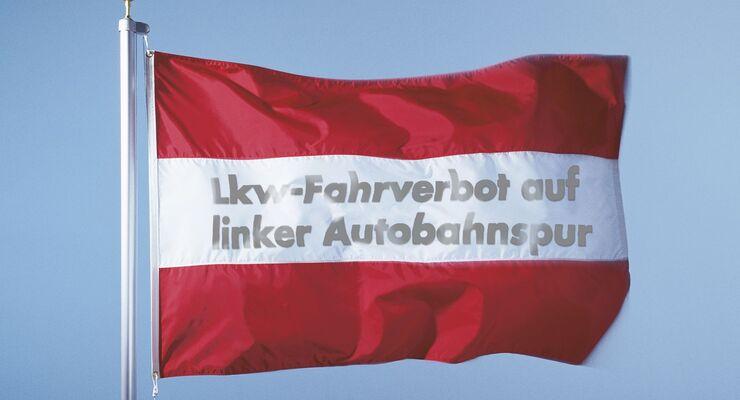 Flagge, Österreich, Fahrverbot, linke Spur