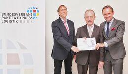 KEP-Studie: Dr. Klaus Esser, Dr. Florian Gerster, Bundesverband Paket und Expresslogistik (BIEK) und BIEK-Geschäftsführer Marten Bosselmann (von links).