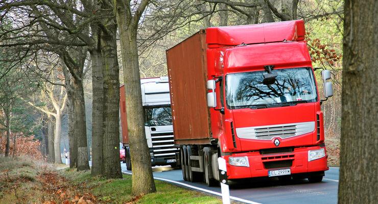 Kabotage, Polen, Renault, Premium Scania, Container, Wald Bundesstraße Brandenburg