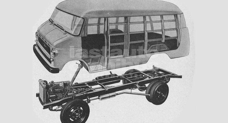 Karosserie und Fahrwerk des Opel Blitz (1959)