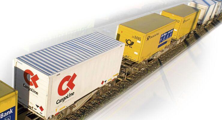 Kombiverkehr, Zug, Bahn, KV, Schiene, Cargoline, Deutsche Post