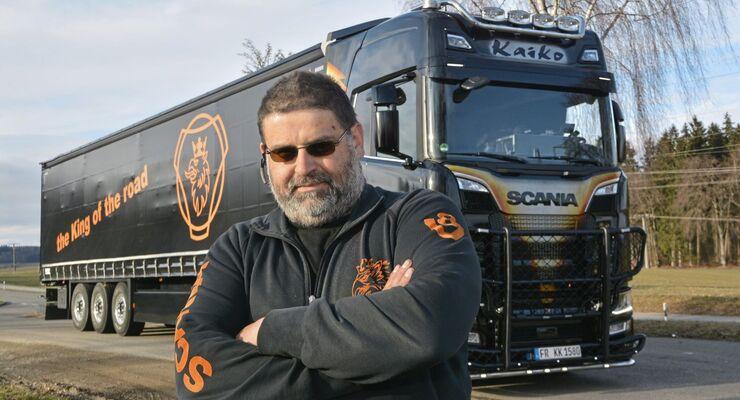 Michael Finkbeiner, zusammen mit seinem Bruder Marco, Inhaber von Kaiko-Transport aus St.Märgen, heute 6 Lkw, sehr bekannt in der Truckszene, einer der ersten S 580 V 8 in Baden-Württemberg.