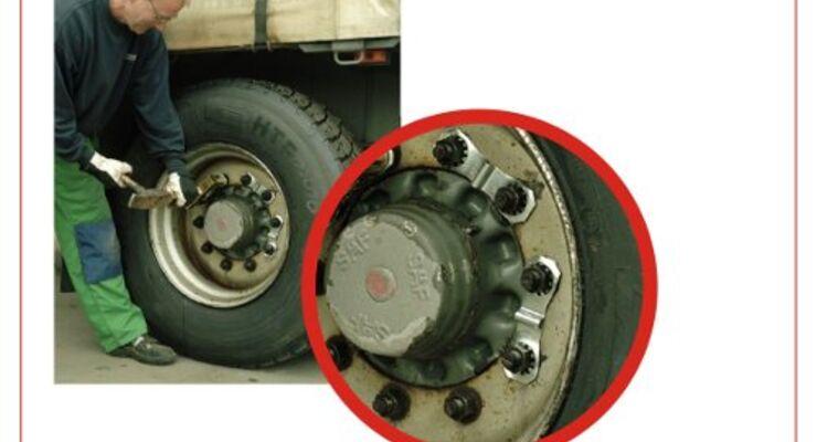 Radmuttersicherung für Lkw-Reifen