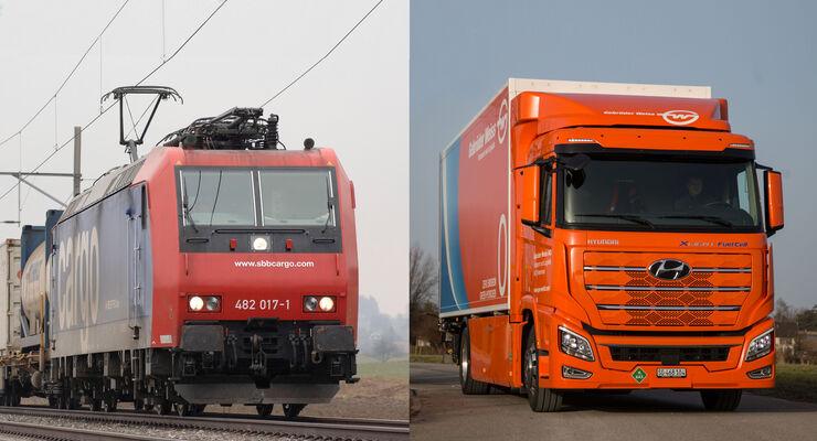 SBB-Lok im Wettbewerb mit auberem H2-Lkw