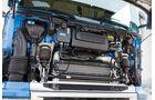Scania, G 420, Test, Lkw, G-Baureihe, SCR-Motor, Fahrerhaus, Wartungsklappe, Luftfederbalg