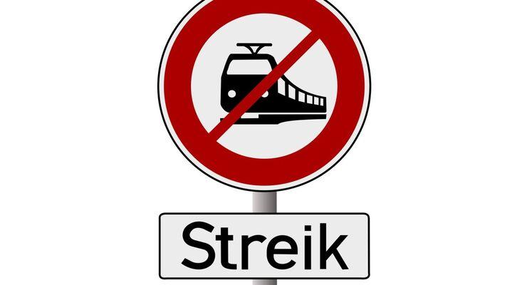 Streik, Bahn, Gleise, Schild