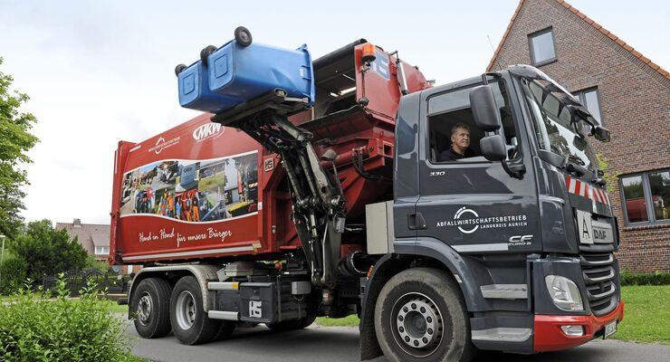 Truckjob Müllwagenfahrer, Müllsammler, DAF CF 330, Euro 6, Landkreis Aurich, Abfallwirtschaftsbetrieb.