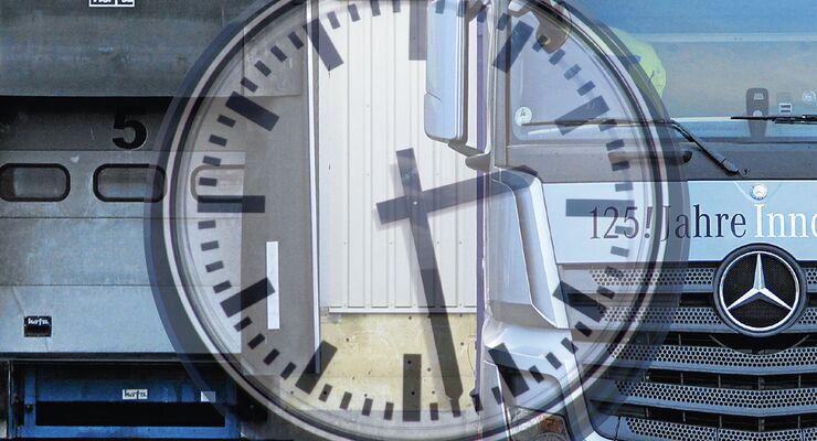 Uhr, Zeit, Rampe, Lkw