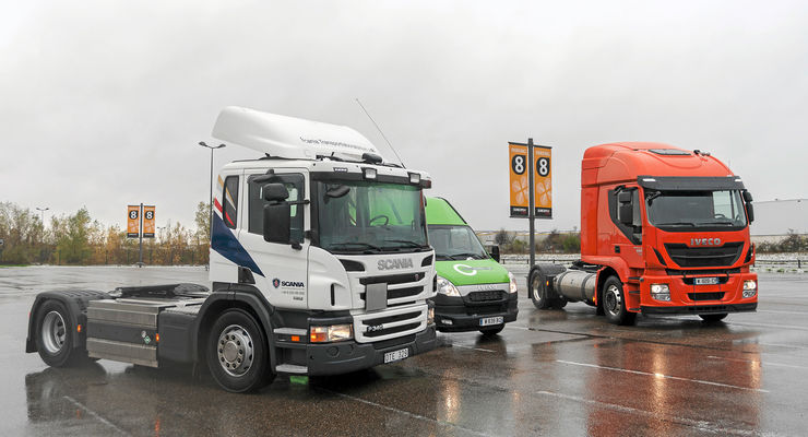 Vergleich LNG- mit CNG-Lkw, Scania, Iveco