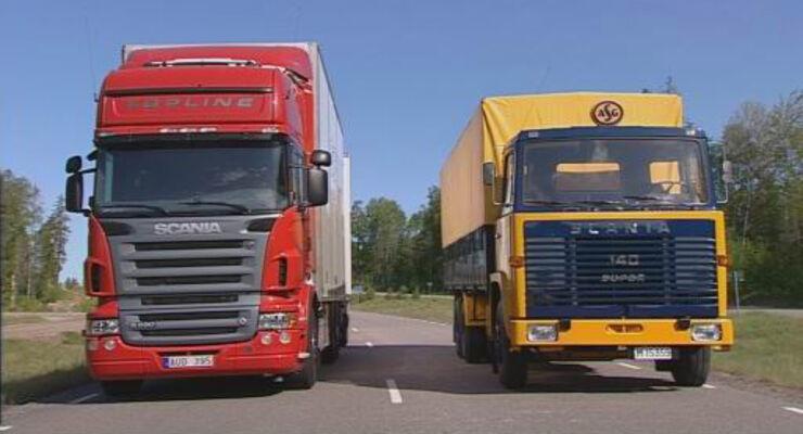 Vergleich: Lkw-Oldtimer gegen moderne Lkw