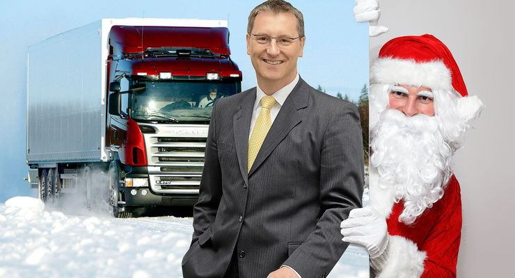 Weihnachtsmann, Kölbl, Dekra, Scania, rot, Winter