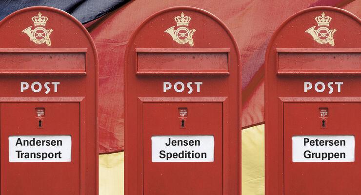 Wettbewerb, die roten Briefkästen der dänischen Post