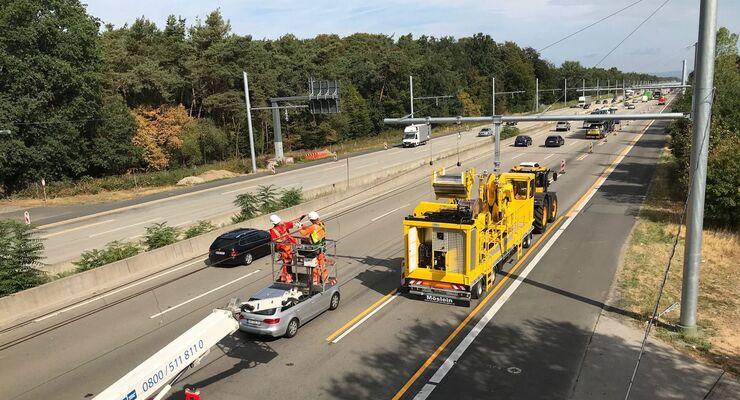 e-Highway, A 5, Lkw, Fahrdraht, OH-Lkw, Oberleitungs-Hybrid-Lkw