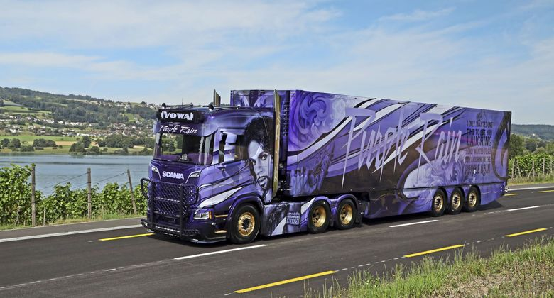 supertruck, airbrush, purple rain, prince, scania